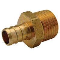 "QQMC65GX - XL Brass Male Adapter - 1-1/4"" Barb x 1"" MPT"