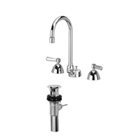 "Z831B1-XL-P - AquaSpec® widespread faucet with 5-3/8"" gooseneck, lever handles and pop-up drain"