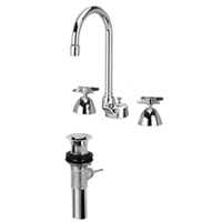 "Z831B2-XL-P - AquaSpec® widespread faucet with 5-3/8"" gooseneck,  cross handles and pop-up drain"