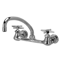 "Z842J2-XL - AquaSpec® wall-mount sink faucet with 9-1/2"" tubular spout and cross handles (lead free)"