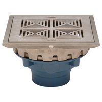 """Z158-DT 10"""" Square Top Prom-Deck Drain with Decorative Grate and Rotatable Frame"""