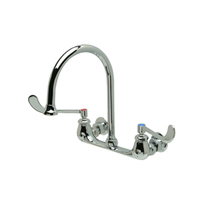 """Z842C6-5F - AquaSpec® wall-mount sink faucet with 8"""" gooseneck and 6"""" wrist blade handles"""