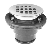 "FD2250-IP15 - 1 1/2"" Threaded, Cast Iron Shower Drain with 4 1/8"", Round, Stainless Steel Strainer"