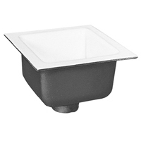 "FD2375-PO2 - 12"" x 12"" Acid Resisting Enamel Coated Floor Sink with 2"" Push-On Connection and 6"" Sump Depth"