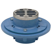 "FD2251-NH2 - 2"" Cast Iron, No-Hub, Shower Drain with 3 1/2"", Round, Stainless Steel Top"