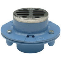 "FD2252-NH2 - 2"" Cast Iron, No-Hub, Shower Drain with 3 1/2"" Round, Stainless Steel Top"