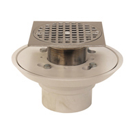 "FD2254-PO2-BS4 - 2"" Cast Iron, Push-On Shower Drain with 4"" Square, Polished Brass Top"