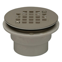 "FD2260-AB2 - 2"" ABS Shower Stall Drain, 4 1/16"" Round, Stainless Steel Strainer"