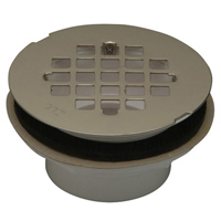 "FD2270-PV2 - 2"" PVC Shower Stall Drain, 4 1/4"" Round, Stainless Steel Strainer"