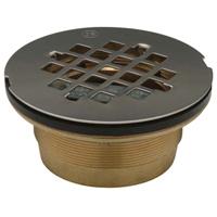"""FD2275-BR2 - 2"""" Brass, No-Caulk, Brass Shower Stall Drain, 4 1/4"""" Round, Stainless Steel Strainer"""