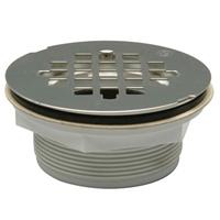 """FD2275-AB2 - 2"""" ABS, No-Caulk Shower Stall Drain, 4 1/4"""" Round, Stainless Steel Strainer"""