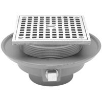 Low Profile Floor Drain with Square Top
