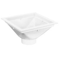 "FD2370-PV3-T - 14"" x 14"" PVC Floor Sink with 3"" PVC Hub Connection with 3/4 Grate"