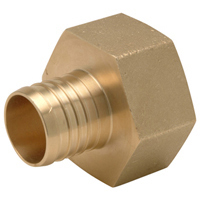 "QQUFC66GX - XL Brass Female (Non Swivel) Pipe Thread Adapter - 1-1/4"" Barb x 1-1/4"" FPT"