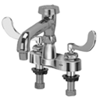 """AquaSpec® centerset 6"""" vacuum breaker spout with aerated outlet and 4"""" wrist blade handles"""