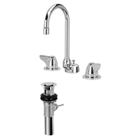 "Z831B3-XL-P - AquaSpec® widespread faucet with 5-3/8"" gooseneck, dome lever handles and pop-up drain"