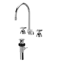 "Z831C2-XL-P - AquaSpec® widespread faucet with 8"" gooseneck, cross handles and pop-up drain"