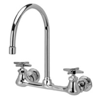 "Z842C2-XL AquaSpec® wall-mount sink faucet with 8"" gooseneck and cross handles (lead free)"