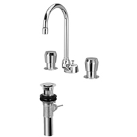 "Z867B0-XL-P - AquaSpec® widespread deck-mount 5-3/8"" gooseneck metering faucet with pop-up drain"