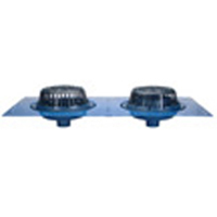 "Z163 15"" Diameter Combination Main Roof and Overflow Drain with Low Silhouette Domes and Double Top-Set® Deck Plate"