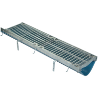 Fiber Reinforced Polymer Trench Drain System with Galvanized Frame Assembly