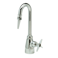 "Z825A2-6F - AquaSpec® single-control lab faucet with 3-1/2"" gooseneck, serrated nozzel outlet and cross handle"