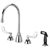 """Z831C4-XL-HS - AquaSpec® widespread faucet with 8"""" gooseneck, 4"""" wrist blade handles and hose spray"""