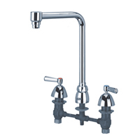 "Z831S1-15M - AquaSpec® widespread faucet with 15"" bent riser spout and lever handles, full-flow aerator"
