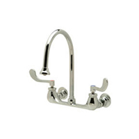"Z842C4-5F - AquaSpec® wall-mount sink faucet with 8"" gooseneck and 4"" wrist blade handles"