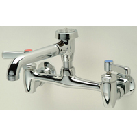 """Z843N1 - AquaSpec® wall-mount sink faucet with 6"""" vacuum breaker spout, lever handles and 3/4"""" hose end"""