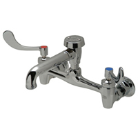"Z843N4 - AquaSpec® wall-mount sink faucet with 6"" vacuum breaker spout, 4"" wrist blade handles and 3/4"" hose end"