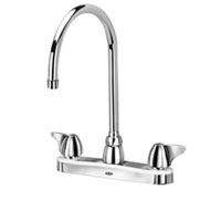 """AquaSpec® kitchen sink faucet with 8"""" gooseneck and dome lever handles"""