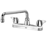 """AquaSpec® kitchen sink faucet with 12"""" tubular spout and dome lever handles"""