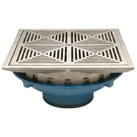 """12"""" Square Top Prom-Deck Drain with Decorative Grate and Rotatable Frame"""