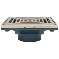 "Z461 6"" Square Modular Non-Adjustable Floor Drain with Clamping Frame"